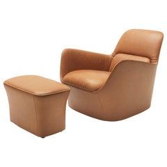 De Sede Rotatable Armchair with Footstool by Alfredo Häberli