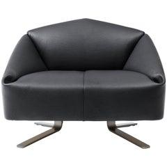 De Sede Wide Leather Folds Armchair by Alfredo Häberli