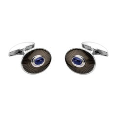 Deakin & Francis 18ct White Gold Enamel Cufflinks with Sapphire Cabochon Centre