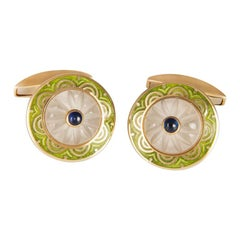 Deakin & Francis 18kt Gold Cufflinks with Crystal and Sapphire Centre and Enamel