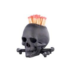 Deakin & Francis Black Skull and Cross Bones Vesta/Candleholder