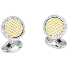 Deakin & Francis Sterling Silver and 18k Gold Cufflinks with Diamond Boarder