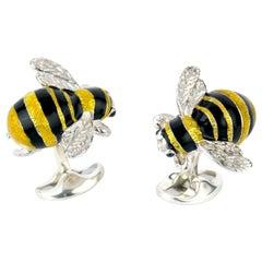 Deakin & Francis Sterling Silver Bumble Bee Cufflinks