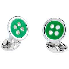 Deakin & Francis Sterling Silver Button Cufflinks with Green Enamel Detail