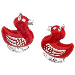 Deakin & Francis Sterling Silver Red Enamel Devil Duck Cufflinks
