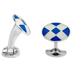 Deakin & Francis Sterling Silver Royal Blue and Clear Patterned Enamel Cufflinks