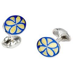 Deakin & Francis Sterling Silver Royal Blue & Yellow Patterned Enamel Cufflinks