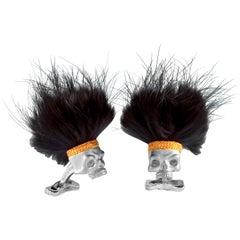 Deakin & Francis Sterling Silver Savage Skull Cufflinks with Black Hair
