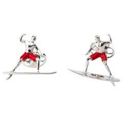 Deakin & Francis Sterling Silver Surfer Cufflinks with Red Enamel Shorts
