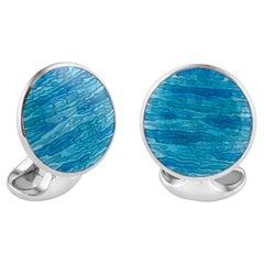 Deakin & Francis Sterling Silver Turquoise Blue Cufflinks