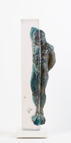 Embedded Slave - After Michelangelo, Sculpture Half Embedded in Clear Resin