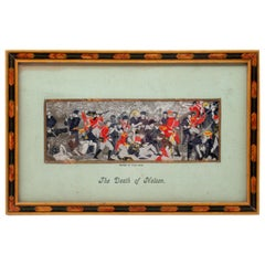Death of Nelson in 1805 Framed Stevengraph Handwoven Silk Picture 19th Century