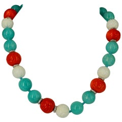 Decadent Jewels Amazonite Shell Carved Coral Sterling Silver Necklace