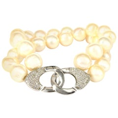 Decadent Jewels Fresh Water Pearl Sterling Silver Two-Strand Bracelet