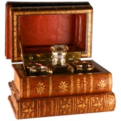 Decanter and Glasses Vintage French Tantalus Book Bar Set
