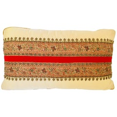 Decorative Ivory Color Silk Throw Pillow Embellished with Beads