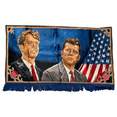 Decorative Tapestry for Wall Robert and John F.Kennedy Late 1960s or Early 1970s