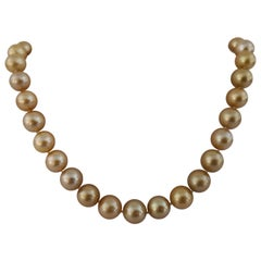 Deep Golden Natural Color South Sea Pearls Necklace, Round, 18 Karat Gold
