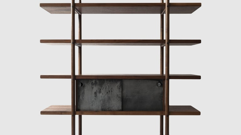 Hand-Crafted Deepstep Shelving Modular Storage with Fine Wood Detailing by Birnam Wood Studio For Sale