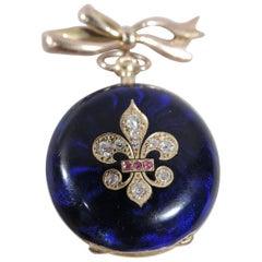 Delightful French Fleur de Lis 18 Karat Gold, Diamond and Blue Enamel Watch