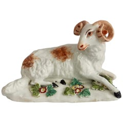 Derby Porcelain Figure of Recumbent Ram, 1759-1769