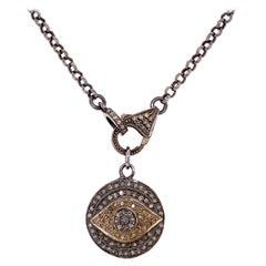 Designer Diamond Evil Eye Sterling Silver Pendant Necklace Estate Fine Jewelry