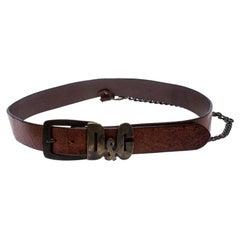 D&G Brown Leather Chain Detail Logo Buckle Belt 95CM