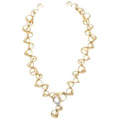 Di Modolo 1990s Triada Clasp Diamond and White and Gold Open Link Necklace