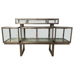 DIA Design Institute of America Steel Chrome and Glass Display Cabinet Vitrine
