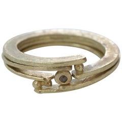 Diamond 18 Karat Gold Bridal Wedding Band Ring, Stack #11