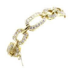 Diamond 18 Karat Gold Link Bracelet