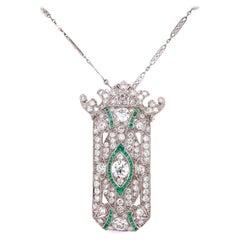 Diamond and Emerald Art Deco Style Platinum Brooch Pendant Necklace Fine Estate
