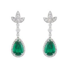 Diamond and Emerald Drop Earrings 6.00 Carat Emeralds 1.30 Carat Diamonds
