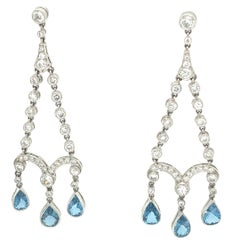 Diamond Aquamarine Chandelier Earrings