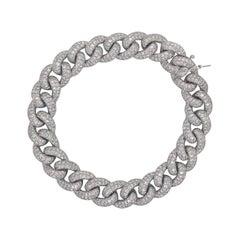 Diamond Cuban Link Bracelet 7.60 Carat 14 Karat White Gold