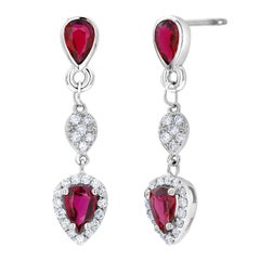 Diamond White Gold Earrings with Ruby Drops Weighing 2.86 Carat