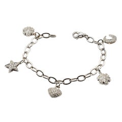 Diamond White Gold Charms Bracelet, Made in Italy