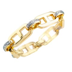 Diamond Yellow Gold Link Bracelet