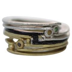 Diamond 18K Gold Sterling Silver Fashion Band Unisex Ring for Men Women Stack#12