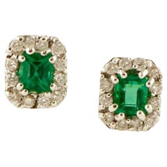 Diamonds, Emeralds, 18 Karat White Gold Stud Earrings