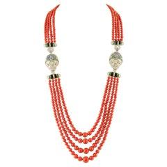 Diamonds, Emeralds, Sapphires, Italian Coral, Onyx, 14 Karat White Gold Necklace