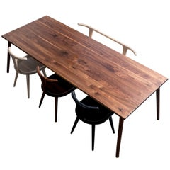 Dining Table, American Walnut Wood Minimalist Handcrafted Kitchen Table