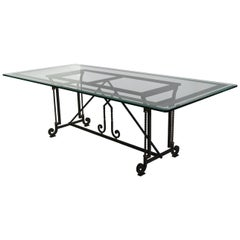 Dining Table Decorated Extra Clear Crystal Glass Top Wrought Iron Base Handmade