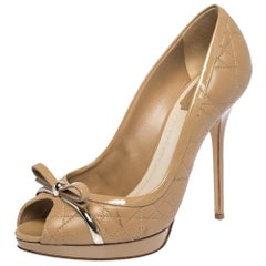 Dior Beige Leather And Patent Trim Cannage Quilt Peep Toe Pumps Size 39.5