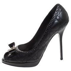 Dior Black Cannage Quilted Leather Bow Peep toe Pumps Size 39.5