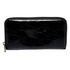Dior Black Diorrisimo Patent Leather Zip Around Wallet