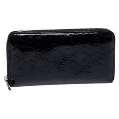 Dior Black Patent Leather Diorissimo Continental Zip Around Wallet