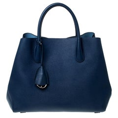 Dior Blue Grained Calfskin Leather Large Open Bar Tote