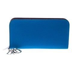 Dior Blue Leather Diorissimo Voyageur Zip Around Wallet