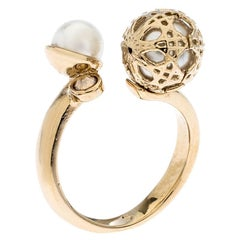 Dior Cannage Faux Pearl Crystal Gold Tone Open Ring Size 51